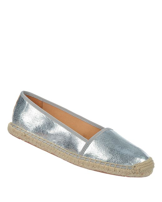 franco sarto whip metallic slip on shoes in silver lyst