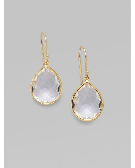 Ippolita | Metallic Rock Candy Gelato Clear Quartz & 18k Yellow Gold Medium Teardrop Earrings | Lyst