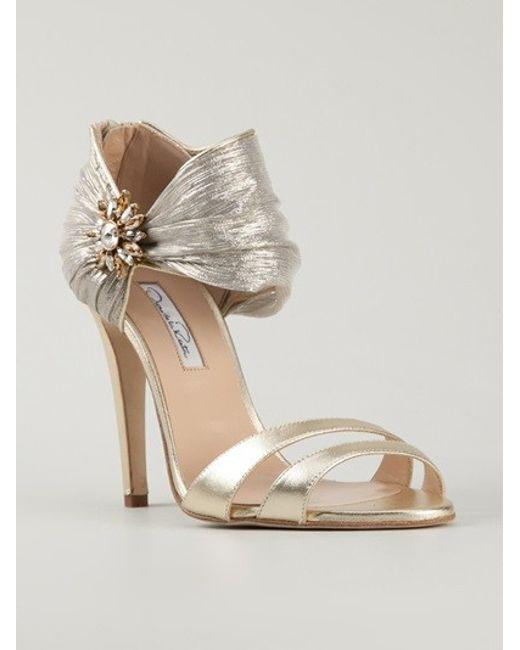 Oscar de la Renta | Gold Evening Sandal With Ornament | Lyst