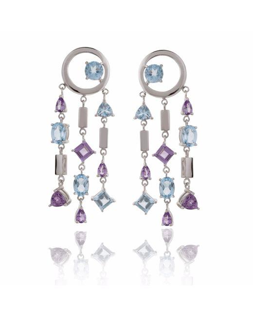 Manja | Selatra Blue Topaz & Amethyst Chandelier Earrings | Lyst