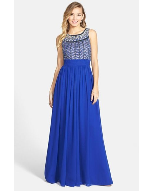 JS Collections | Blue Embellished Chiffon Gown | Lyst