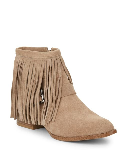 BCBGeneration | Natural Capricorn Fringe Suede Ankle Boots | Lyst