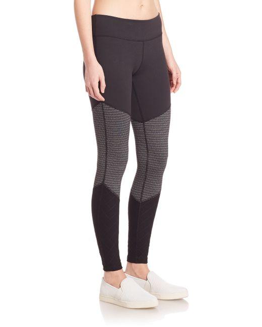 Beyond Yoga Static Stripe Tri Panel Leggings In Gray