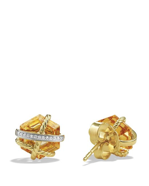 david yurman cable wrap earrings with chagne citrine