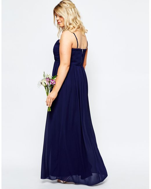 Tfnc plus wedding bandeau chiffon maxi dress in blue navy for Navy maxi dresses for weddings