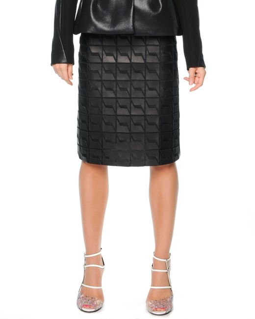 fendi graphic leather a line skirt in black save 65 lyst