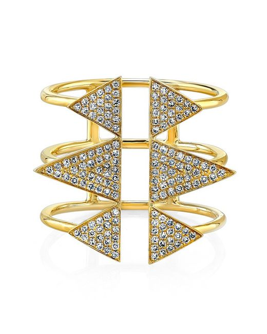 Anne Sisteron | 14kt Yellow Gold Diamond Triple Spike Ring | Lyst