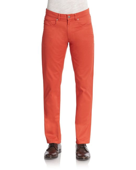Saks Fifth Avenue | Red Five-pocket Cotton Chinos for Men | Lyst