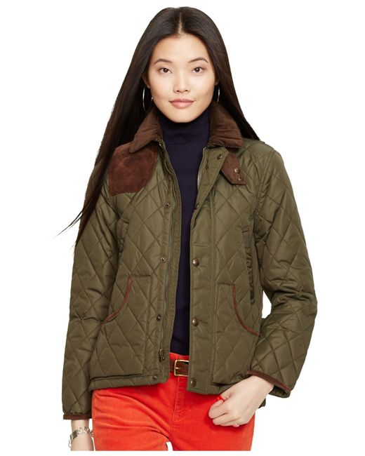 Polo Ralph Lauren Suede Trim Quilted Jacket In Green