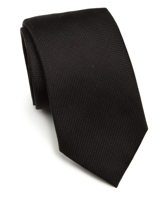 Saks Fifth Avenue | Black Solid Silk Tie for Men | Lyst