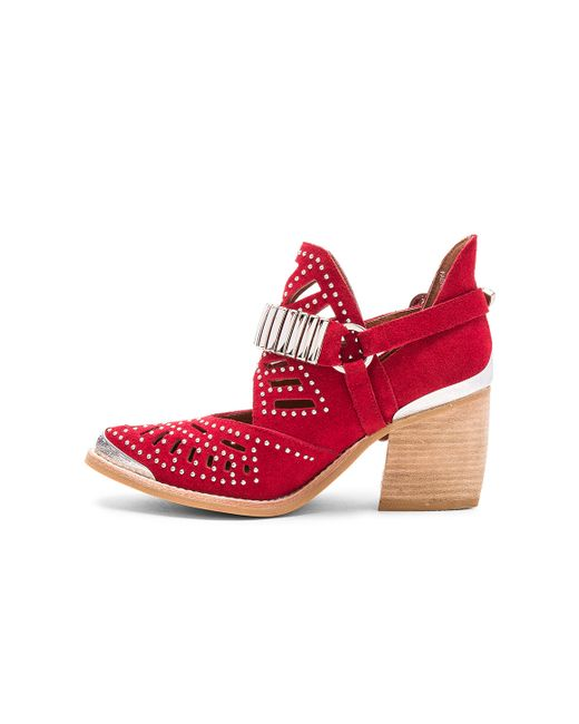 Jeffrey Campbell Calhoun Booties In Silver Red Suede