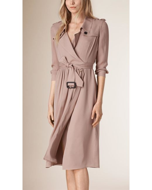 Burberry Silk Trench Dress Nude In Beige NUDE Lyst