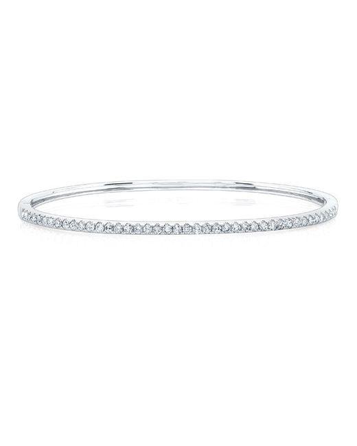 Anne Sisteron | 14kt White Gold Half Diamond Bangle Bracelet | Lyst