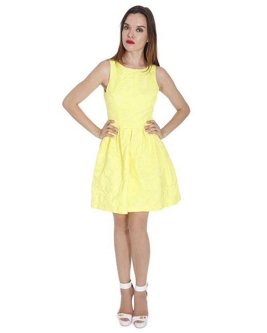 Alexia Admor Tonal Jacquard A Line Dress In Yellow Lyst