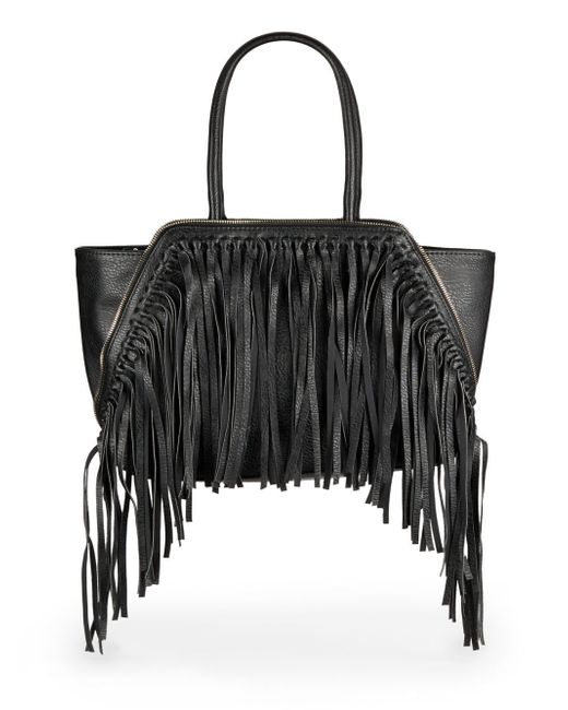 Sondra Roberts | Black Fringed Faux-Leather Tote | Lyst