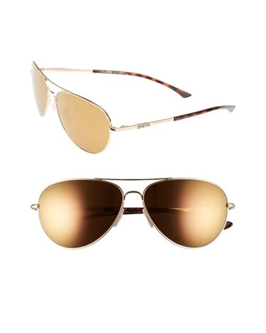 Smith Optics | Metallic 'audible - Chromapop' 60mm Polarized Aviator Sunglasses | Lyst