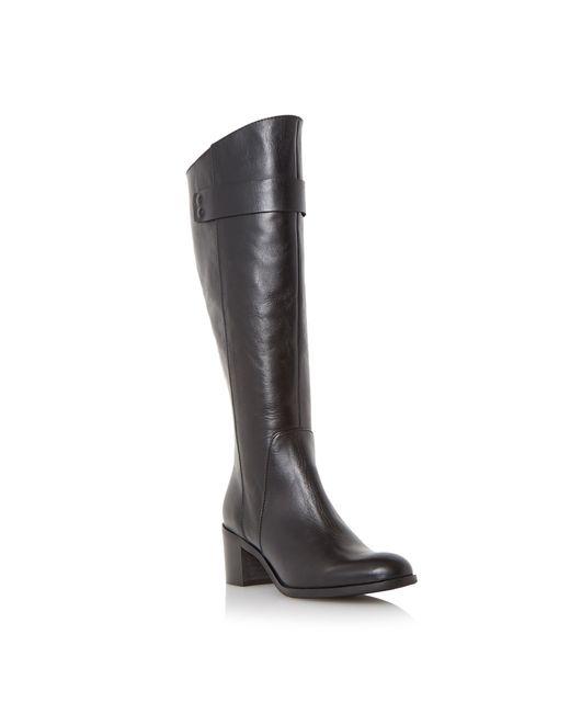 Dune Black | Black Tommie Back Zip Block Heeled Knee Boots | Lyst