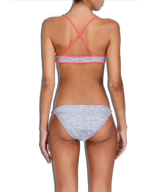 MILLY | Red Cabana Melange Jersey Print X-back Bikini Top | Lyst