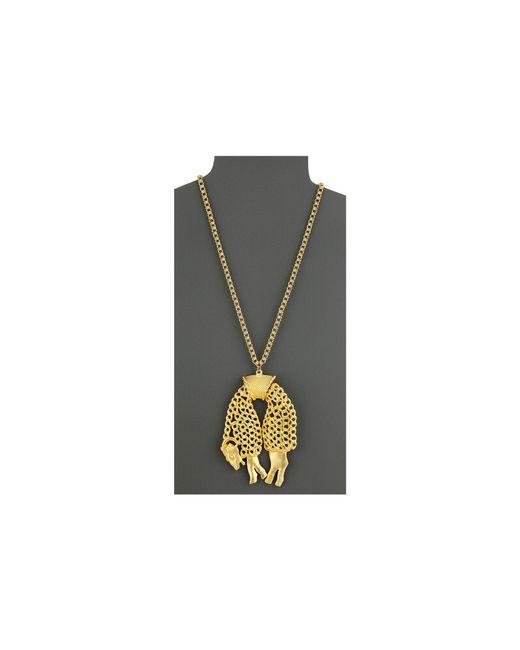 Kenneth Jay Lane | Metallic 4751n24sg Satin Sheep On Chain Necklace | Lyst