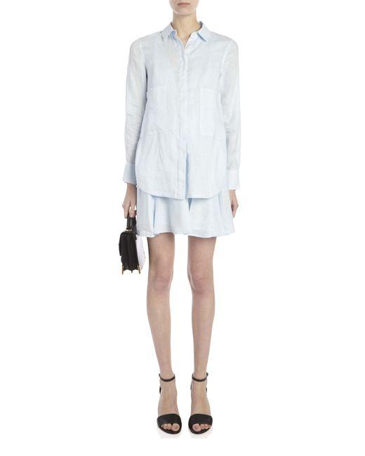10 Crosby Derek Lam Linen Skirt Shirt Dress In Blue Lyst