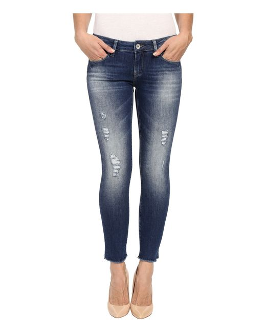 mavi jeans serena ankle in dark ripped vintage in blue. Black Bedroom Furniture Sets. Home Design Ideas