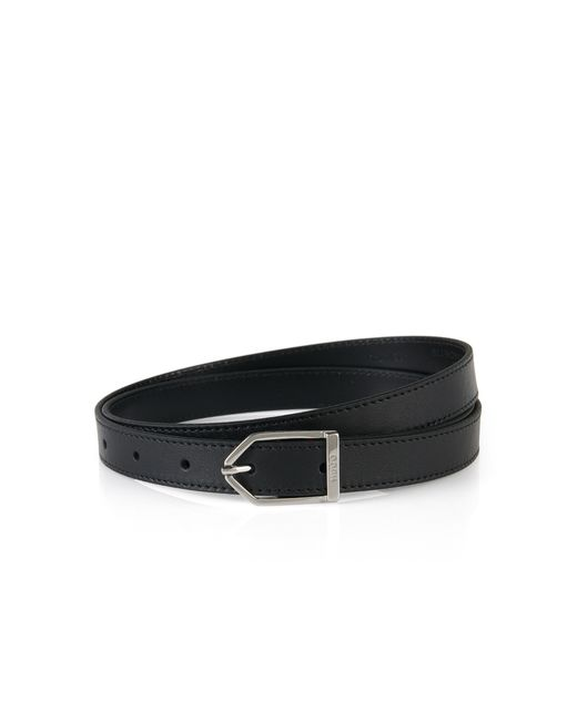 HUGO | Black Narrow Belt In Grained Leather: 'luna' | Lyst