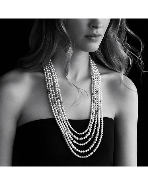 David Yurman | White Starburst Pearl Multi-row Necklace With Diamonds | Lyst