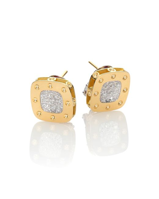 Roberto Coin | Metallic Pois Moi Diamond & 18k Yellow Gold Stud Earrings | Lyst