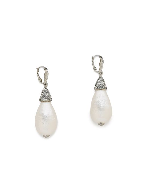 Oscar de la Renta | White Drop Earrings | Lyst
