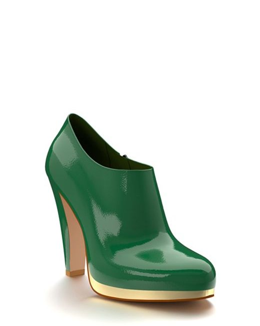 shoes of prey green leather platform ankle boots in green