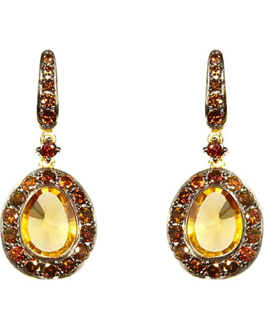 Annoushka | Dusty Diamonds Citrine And 18ct Yellow-gold Drop Earrings | Lyst