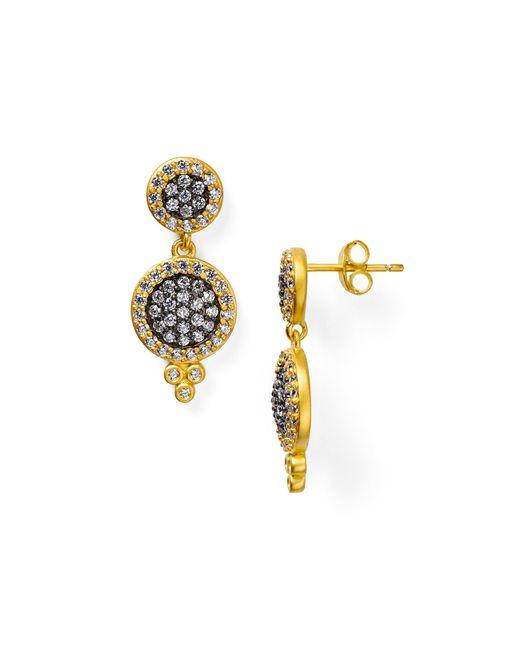 Freida Rothman | Metallic Double Pavé Disc Drop Earrings | Lyst
