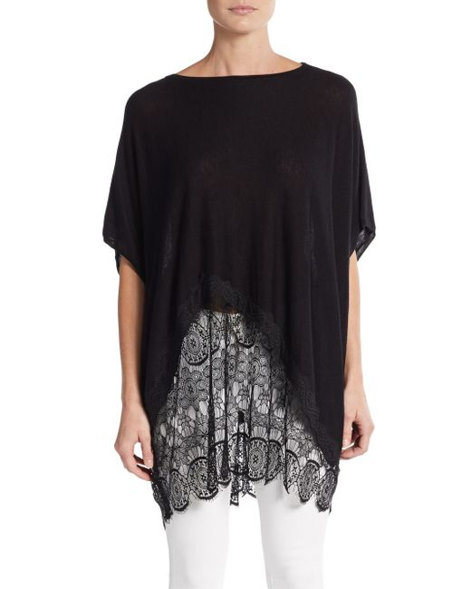Love Scarlett | Black Lace-hem Draped Top | Lyst