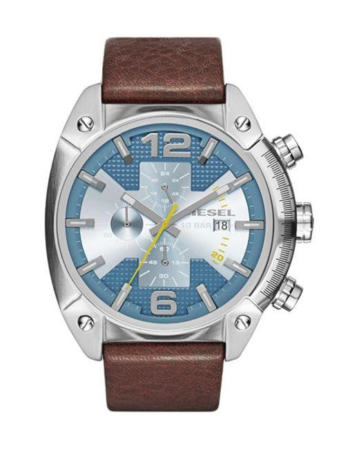 DIESEL | Brown Diesel 'overflow' Chronograph Leather Strap Watch for Men | Lyst