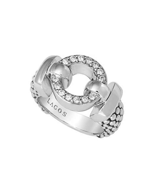 Lagos Enso Circle Game Diamond Caviar Ring In Silver