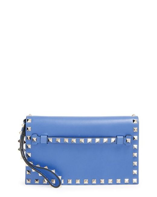Valentino | Blue 'small Rockstud' Leather Flap Clutch | Lyst
