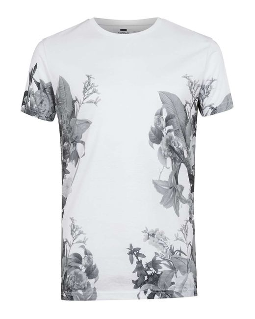 Topman white lily floral print t shirt in black for men for Mens white floral shirt