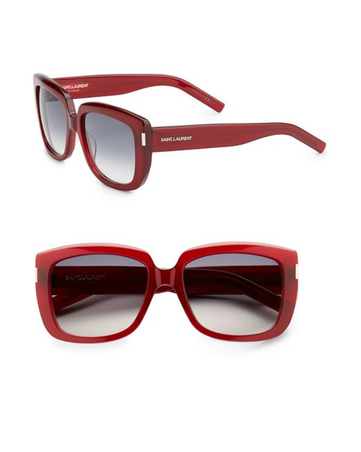 Saint Laurent   Red Sqaure Acetate Sunglasses   Lyst