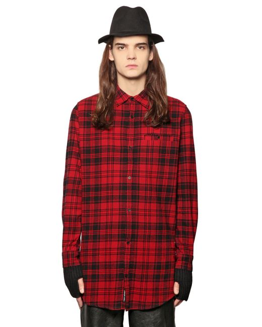 Cheap Monday Plaid Cotton Blend Flannel Shirt In Red For