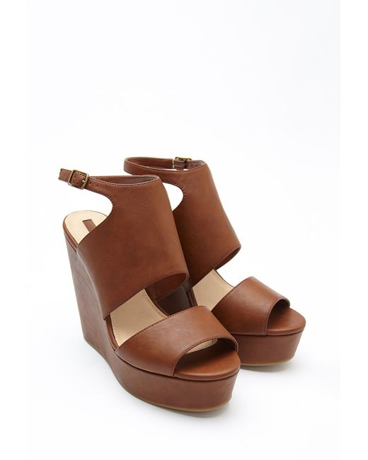 Forever 21 | Brown Faux Leather Platform Wedges | Lyst