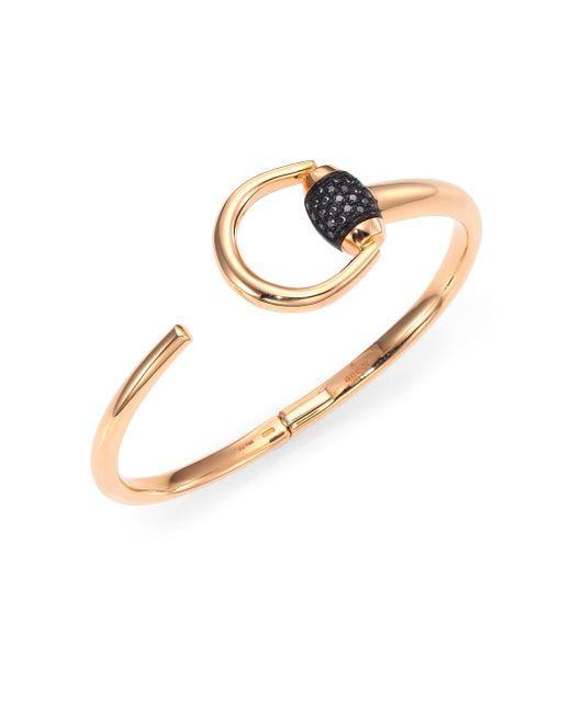 Gucci | Metallic Horsebit 0.25tcw Diamond & 18k Pink Gold Cuff Bracelet | Lyst