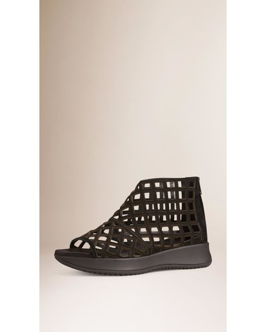 burberry sport suede cut out sport sandals in black lyst