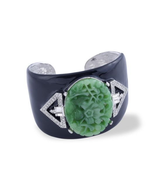 Kenneth Jay Lane | Green Jade Art Deco Cuff | Lyst