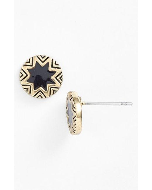 House of Harlow 1960 | Black 1960 Sunburst Engraved Stud Earrings | Lyst