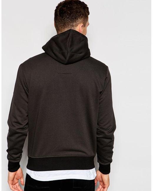 g star raw zipthru hoodie spynto detatchable hood in raven. Black Bedroom Furniture Sets. Home Design Ideas