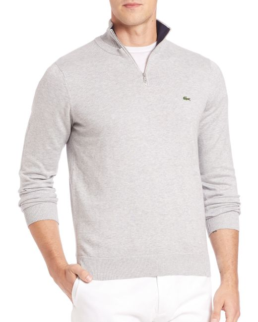 Lacoste | Gray Quarter-zip Cotton Sweater for Men | Lyst