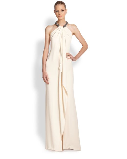 Carmen Marc Valvo | White Jeweled Cascade-front Crepe Gown | Lyst