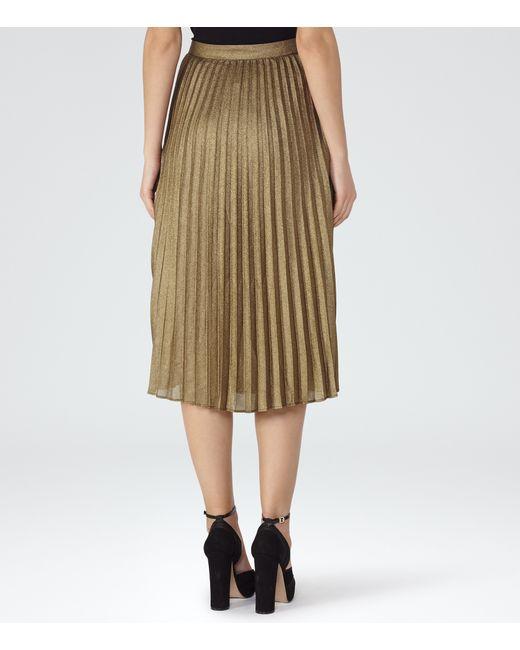 reiss kaeya metallic pleated midi skirt in gold bronze