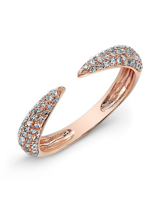 Anne Sisteron - Metallic 14kt Rose Gold Diamond Horn Pinkie Ring - Lyst