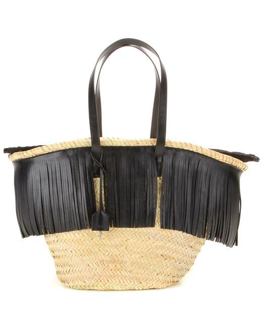 Saint laurent panier basket leather fringed shopper in black neutrals lyst - Panier de basket gonflable ...